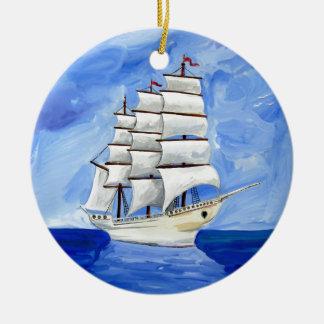 white sailboat on blue sea ceramic ornament