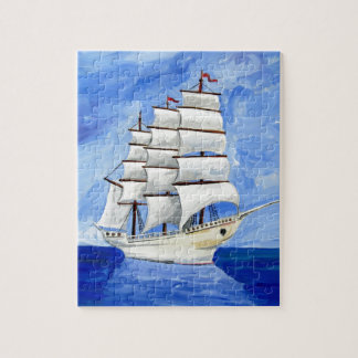 white sailboat on blue sea puzzles