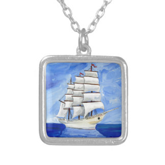 white sailboat on blue sea silver plated necklace
