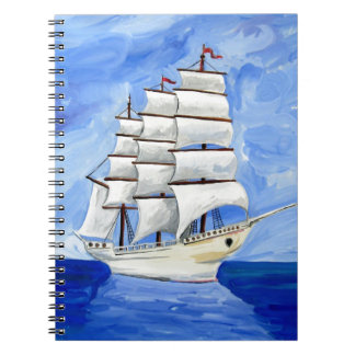 white sailboat on blue sea spiral notebook