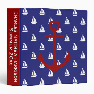 White Sailboats on Blue With Red Anchors Vinyl Binders