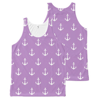 White Sailing Ship Anchor Design All-Over-Print Tank Top