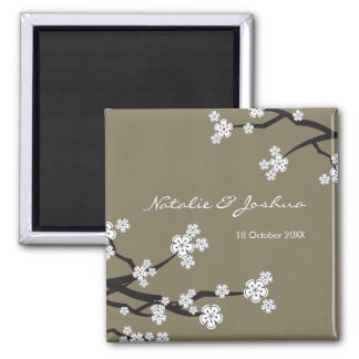 White Sakura Asian Wedding Save The Date Magnet