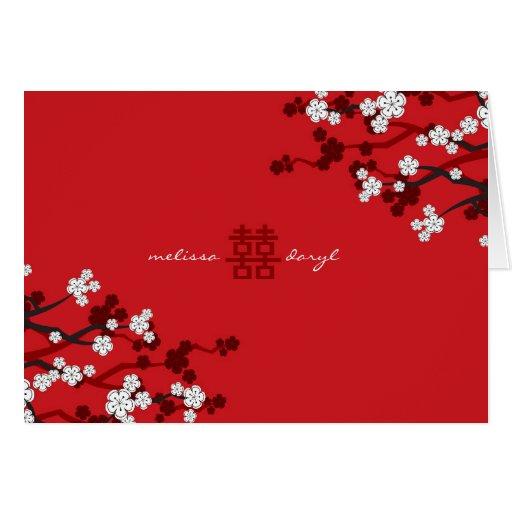 White Sakura Cherry Blossoms Chic Chinese Wedding Greeting Card