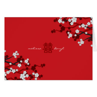 White Sakura Cherry Blossoms Chic Chinese Wedding Greeting Card