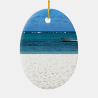 White sand beach of Flic en Flac Mauritius overloo Ceramic Oval Ornament