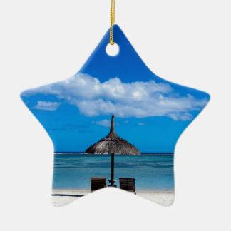 White sand beach of Flic en Flac Mauritius overloo Ceramic Star Ornament