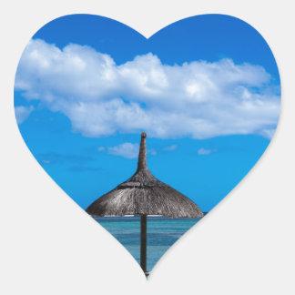 White sand beach of Flic en Flac Mauritius overloo Heart Sticker