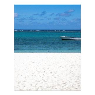 White sand beach of Flic en Flac Mauritius overloo Letterhead