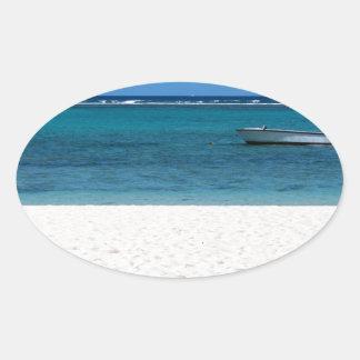 White sand beach of Flic en Flac Mauritius overloo Oval Sticker