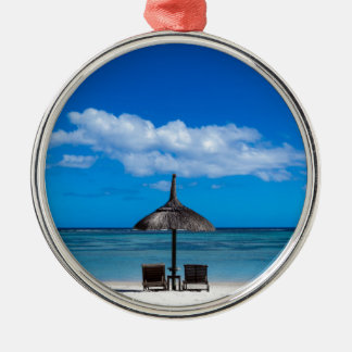 White sand beach of Flic en Flac Mauritius overloo Silver-Colored Round Ornament