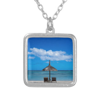White sand beach of Flic en Flac Mauritius overloo Silver Plated Necklace