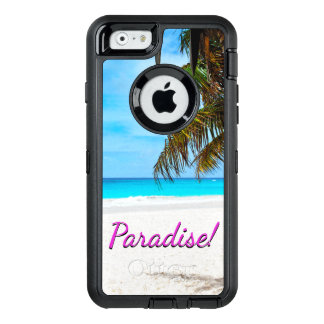 "White sand beach, palm tree, ""Paradise"" text OtterBox Defender iPhone Case"