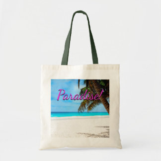 "White sand beach, palm tree, ""Paradise"" text Tote Bag"