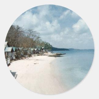 White Sand Beach Thailand Classic Round Sticker
