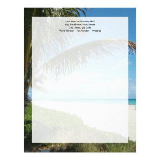 White Sand Beach w/Palm Custom Letterhead