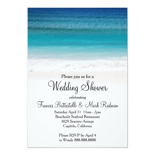 White Sand Ocean Beach Wedding Shower Invitation