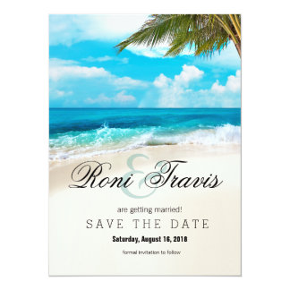 White Sands Beach Palm Tree Save the Date Card