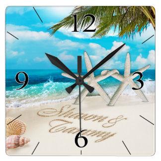 White Sands Beach Starfish Couple Square Wall Clock