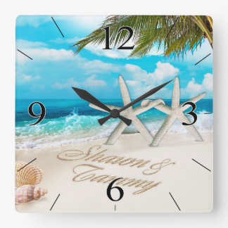 White Sands Beach Starfish Couple Wallclock