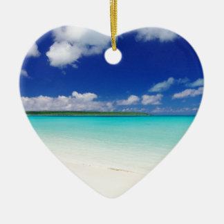 White Sandy Beach and Miyako Island Okinawa Ceramic Heart Ornament