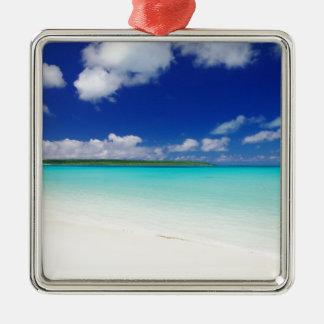 White Sandy Beach and Miyako Island Okinawa Silver-Colored Square Ornament