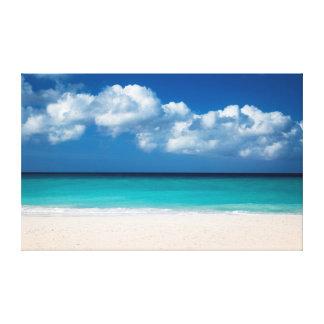 White sandy beach at Eagle Beach Canvas Print