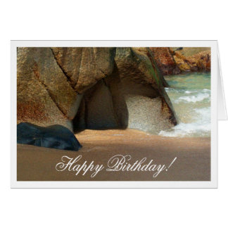 White Sandy Beach; Happy Birthday Card