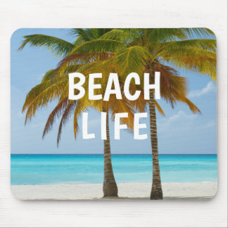 White Sandy Beach Palm Tree Turquoise Water Mouse Pad