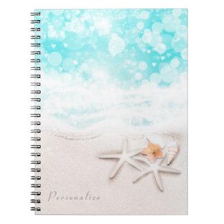 White Sandy Beach Starfish Blue Ocean Tropcial Notebook