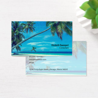White Sandy Beach with Coconut Palms Business Card