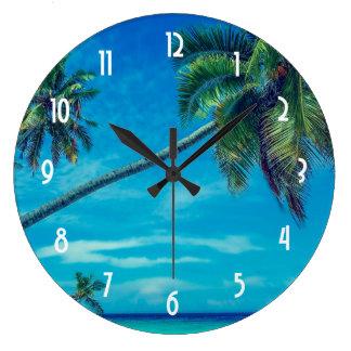 White Sandy Beach with Coconut Palms Clocks