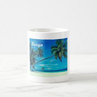 White Sandy Beach with Coconut Palms Coffee Mug