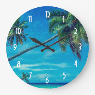 White Sandy Beach with Coconut Palms Large Clock