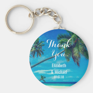 White Sandy Beach with Coconut Palms Wedding Keychain