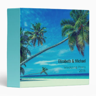 White Sandy Beach with Coconut Palms Wedding Plans Binders