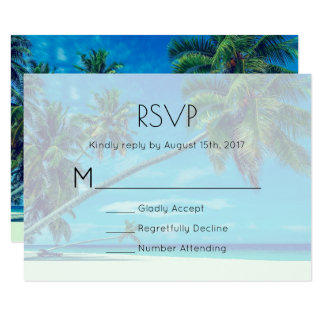 White Sandy Beach with Coconut Palms Wedding RSVP Card