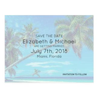White Sandy Beach with Coconut Palms Wedding STD Postcard