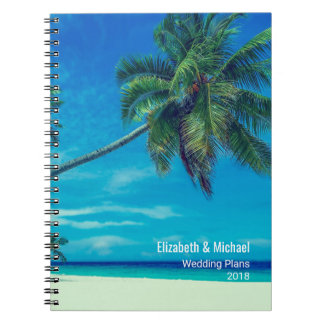 White Sandy Beach with Palm Trees Wedding Plans Notebooks