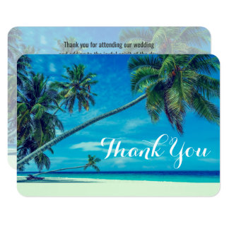 White Sandy Beach with Palm Trees Wedding Thanks Card