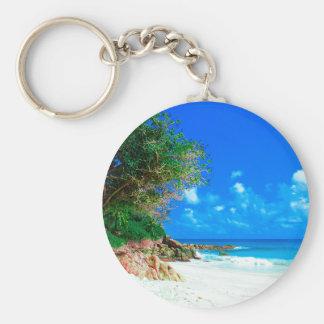 White Sandy Tropical Island Beach Keychain