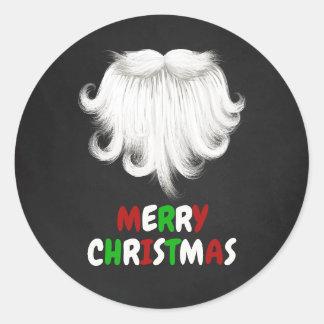 White Santa's Beard Christmas Party Classic Round Sticker