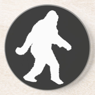 White Sasquatch Silhouette For Dark Backgrounds Beverage Coasters