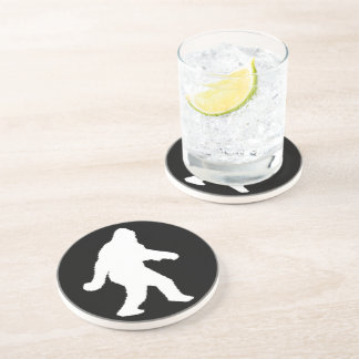 White Sasquatch Silhouette For Dark Backgrounds Beverage Coasters