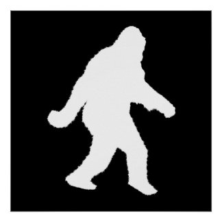 White Sasquatch Silhouette For Dark Backgrounds Print