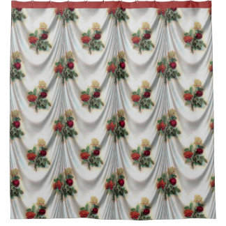White Satin and Floral Design Shower Curtain