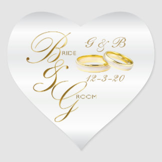 White Satin and Gold Wedding Rings with DIY Text Heart Sticker