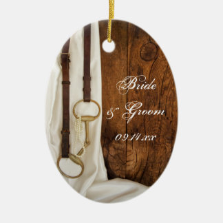 White Satin and Horse Bit Country Wedding Ceramic Ornament