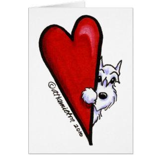 White Schnauzer Love Note Card