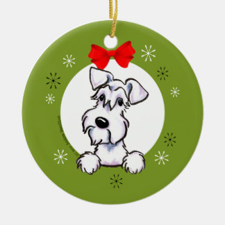 White Schnauzer Natural Ears Christmas Classic Round Ceramic Ornament